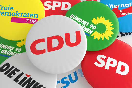 Pile of Buttons With The Logo of The Political Parties CDU, CSU, SPD, FDP, AfD, The Left And The Greens, 3d illustration