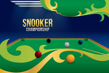 Snooker championship with balls and green snooker table background. Sport concept