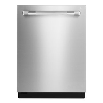 Dishwasher Machine Isolated on White Background. Front View Modern Stainless Steel Fully Integrated Dishwasher Range. Kitchen and Household Appliances. Washing Dishes Built-In Equipment