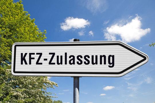 Wegweiser, KFZ-Zulassung