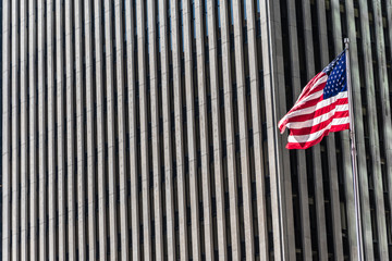 American flag with pattern of skyscrapers of Avenue of the Americas, 6th Avenue, New York, USA