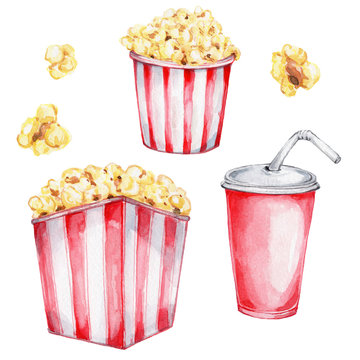 Popcorn in red box and soda; watercolor hand draw illustration; with white isolated background