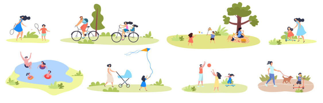 Large set of summer family activities showing kids and parents, swimming, flying kite, playing racket ball, on a picnic, walking the dog and cycling, vector illustration