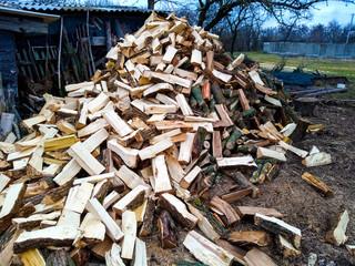 Photo sur Aluminium Texture de bois de chauffage pile of firewood