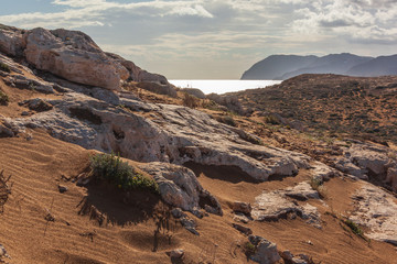 Beautiful natural park of Calblanque with picturesque rocks and red sands, Murcia, Spain
