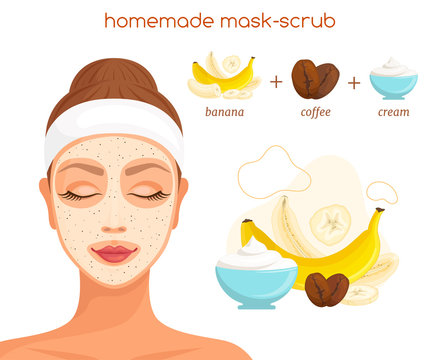Coffee peeling. Homemade scrub recipe from available products. Vector beauty illustration in cartoon style. Ground coffee exfoliating mask. Ingredients for a cosmetic procedure. Personal care