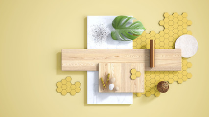 Minimal yellow background with copy space, marble slab, wooden planks, cutting board, mosaic tiles, monstera leaf, eggs, pins and decors. Kitchen interior design concept, mood board