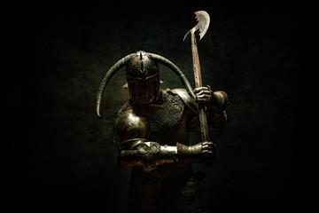 Portrait of a Viking Berserker warrior, holding a halberd in his hands