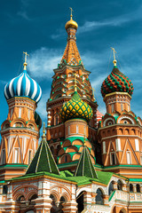 Fototapete - St Basil`s Cathedral on Red Square, Moscow, Russia, Europe. It is a famous landmark of Moscow. St Basil`s temple in Moscow center close up.