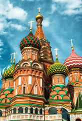 Fototapete - St Basil`s Cathedral on Red Square, Moscow, Russia, Europe. It is a famous landmark of Moscow. Saint Basil`s church in Moscow center close-up.