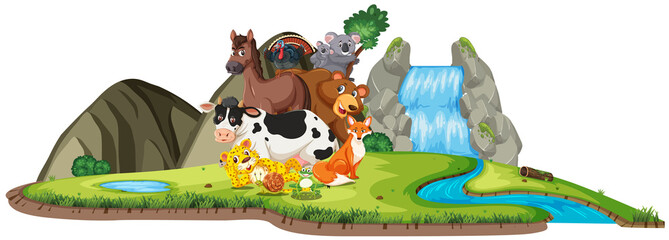 Scene with many wild animals by the waterfall