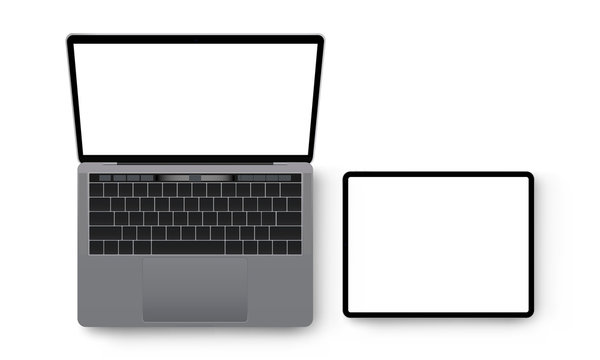 Laptop and tablet computer mockup, view from above. Vector illustration