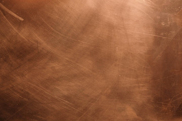 Copper background. There are scratches on the copper surface.