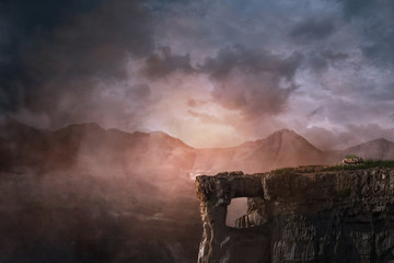 Photo sur Plexiglas Cappuccino cliff background fantasy, photo editing background