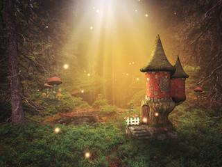 Zelfklevend Fotobehang Diepbruine fantasy background in a fairy world