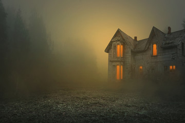 foggy and creepy old house, photo editing background Fototapete