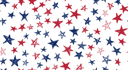 Independence Day USA. Presidents day. Hand drawn illustration. Stars grunge. Wall mural