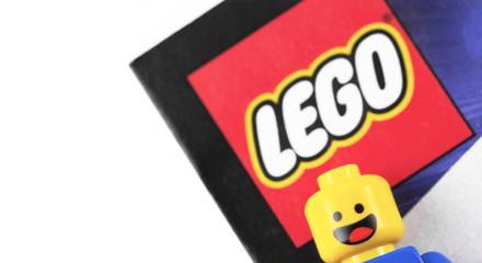 Lego logo and minifigure are manufactured by The Lego Group. Moscow, Russia - September 23, 2019