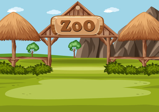 Scene with zoo sign in the green field