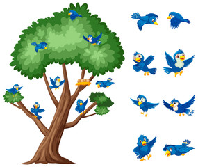 Big tree and blue birds flying on white background
