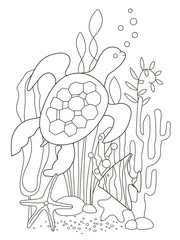 Vector beautiful coloring book for adults and children with a turtle and fish among algae, starfish and corals. A series of coloring books with marine animals.