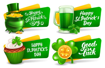 Happy Saint Patricks Day Festive Labels Or Badges Set Wall mural