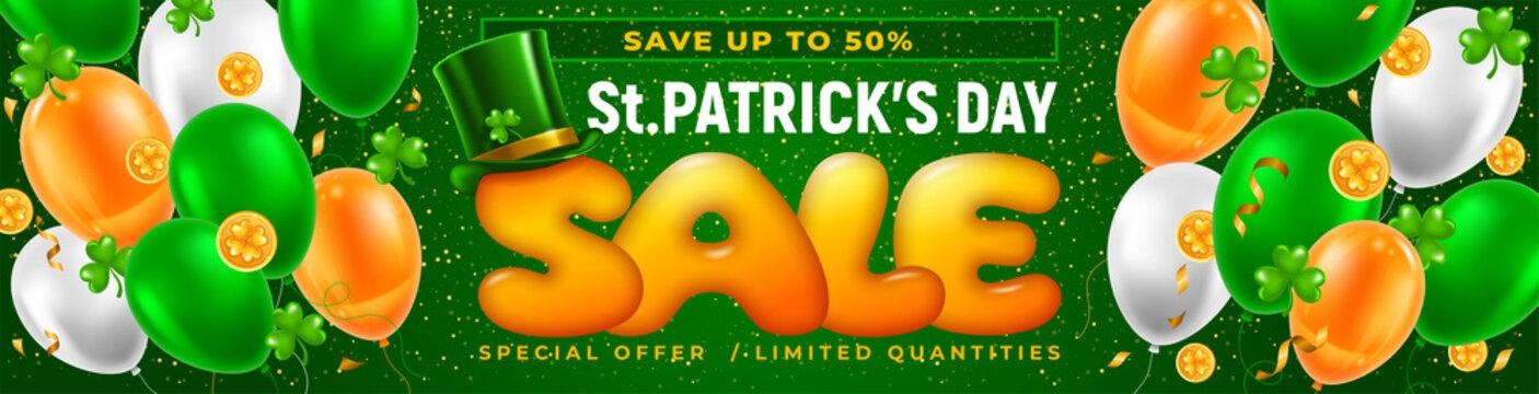 Saint Patricks Day Sale Horizontal Banner