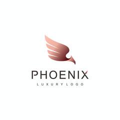 Luxury phoenix bird logo vector