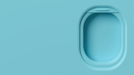 Airplane window mockup, travel vacation 3d illustration. Minimalist plastic pastel scene with space for text, plane window design. Inside airplane interior element, copy space background, sky aircraft