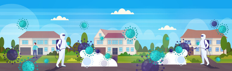 scientists in hazmat suits cleaning disinfecting coronavirus cells epidemic MERS-CoV virus wuhan 2019-nCoV pandemic health risk countryside landscape background horizontal vector illustration
