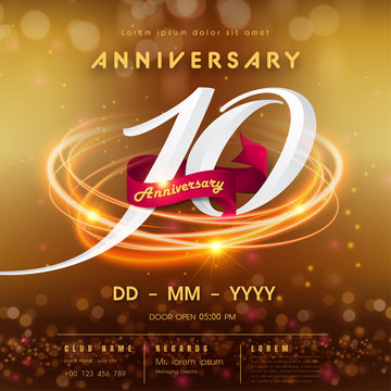 10 years anniversary logo template on golden Abstract futuristic space background. 10th modern technology design celebrating numbers with Hi-tech network digital technology concept design elements.