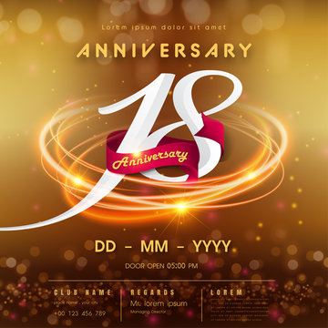18 years anniversary logo template on golden Abstract futuristic space background. 18th modern technology design celebrating numbers with Hi-tech network digital technology concept design elements.