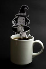 Witch stirring a conceptual cauldron