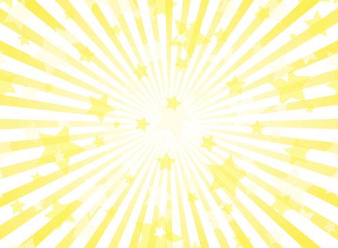 Sunlight horizontal background. Gold yellow color burst background with shining stars.