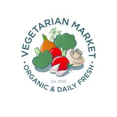 Vegetarian Market logo. Vegetarian organic products. Organic and fresh food emblem. Healthy food. Garlic, mushrooms, tomatoes, broccoli, and onion.