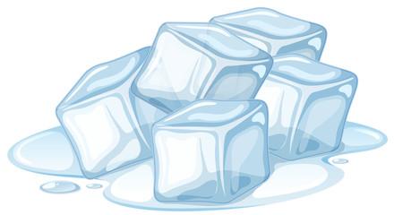 Pile of ice melting on white background