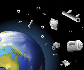 Earth and trash in the space