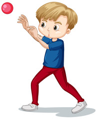 Cute boy in blue shirt throwing ball