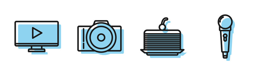 Set line Cake, Online play video, Photo camera and Microphone icon. Vector