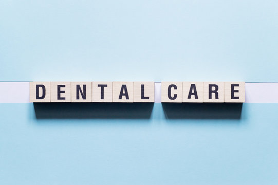 Dental care word concept on cubes