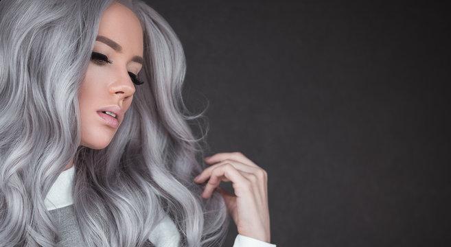Beautiful girl with healthy long grey hair