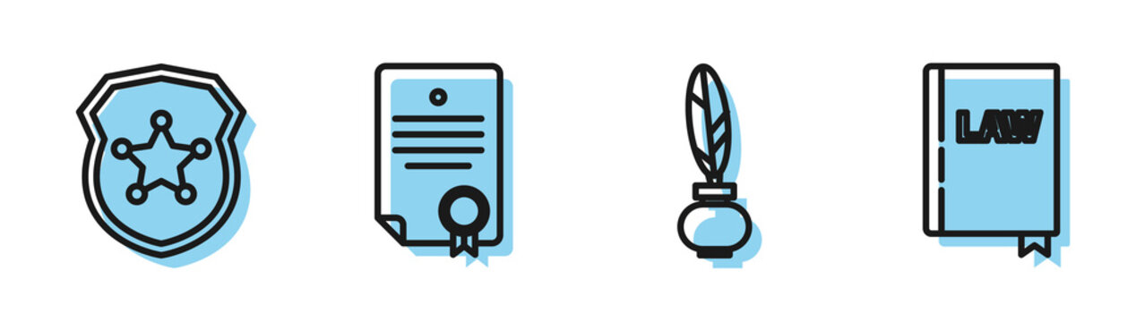Set line Feather and inkwell, Police badge, Certificate template and Law book icon. Vector