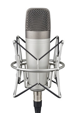 Gray studio condenser microphone isolated on white background