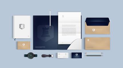 Corporate branding design. Stationery identity premium mockup vector set. Template for business or finance elegant company. Folder and A4 letter, visiting card and envelope based on modern gold logo.