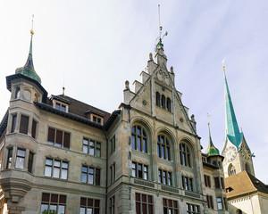 City Hall Stadthaus and Fraumunster Church in the old city center in Zurich, Switzerland