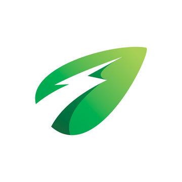 green lightning electric nature leaf logo design