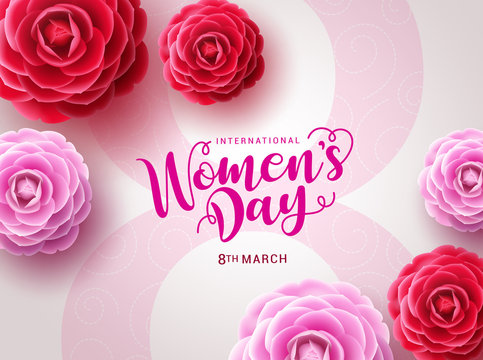 Women's day vector design. March 8 international woman's day celebration text with camellia flowers in big pink eight in white feminine background. Vector illustration