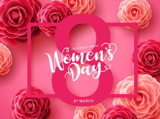 Women's day vector concept design. March 8 greeting text with pink frame and camellia flowers background for international women's day. Vector illustration