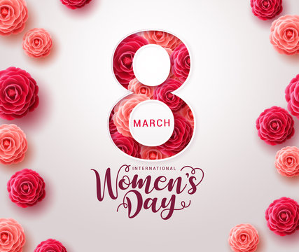 March 8 women's day design. Women's day vector concept design for international woman celebration with camellia flowers background. Vector illustration