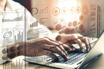 Big Data Technology for Business Finance Analytic Concept. Modern graphic interface shows massive...